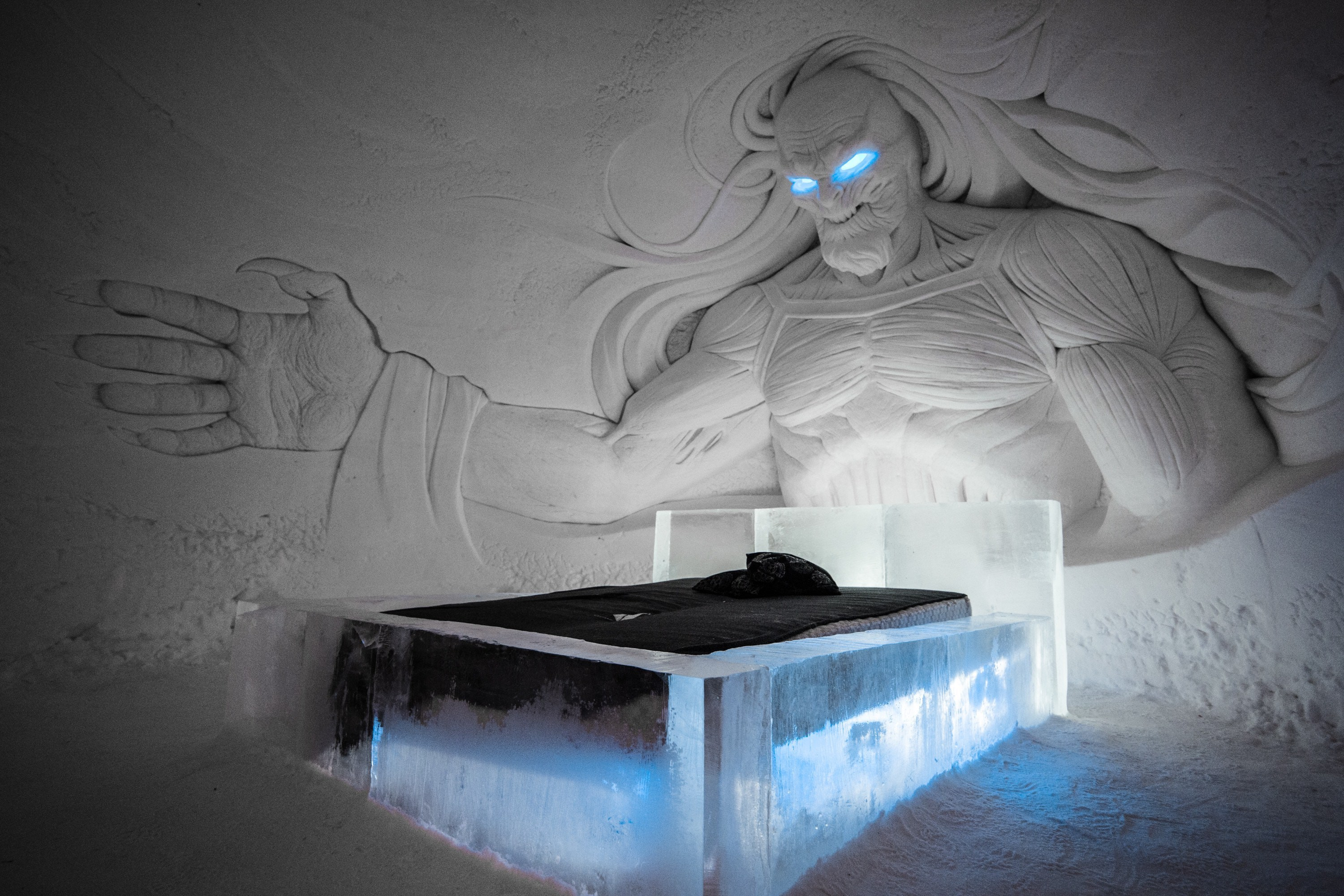 The Night King looms over guests as they sleep