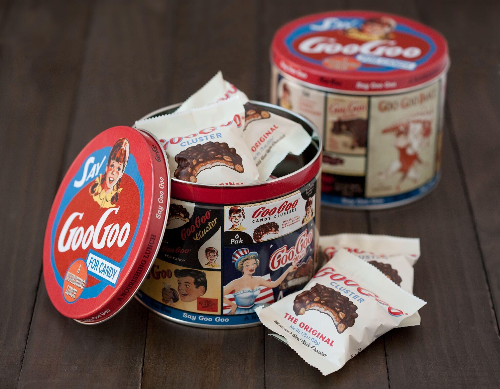 Goo Goo Cluster tin with the Original Goo Goo Cluster