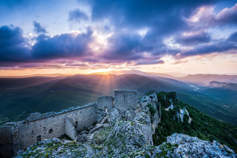 Peyrepertuse castle at sunrise in the Languedoc