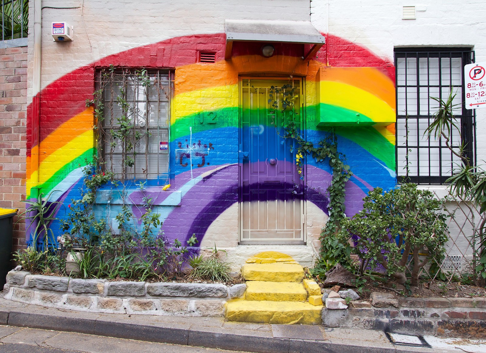 Rainbow mural on a terrace house in Surry Hills