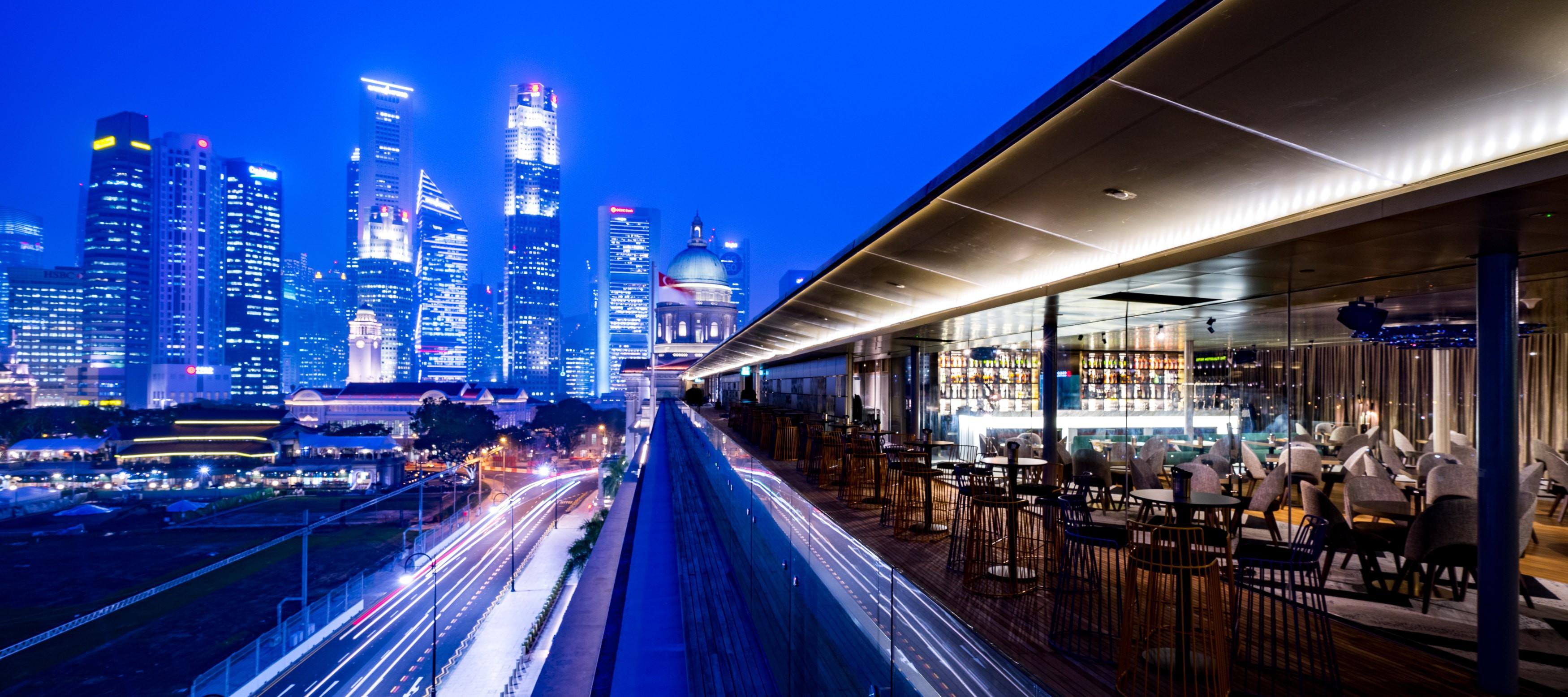 Aura Sky Lounge boasts an amazing view of the Singapore skyline