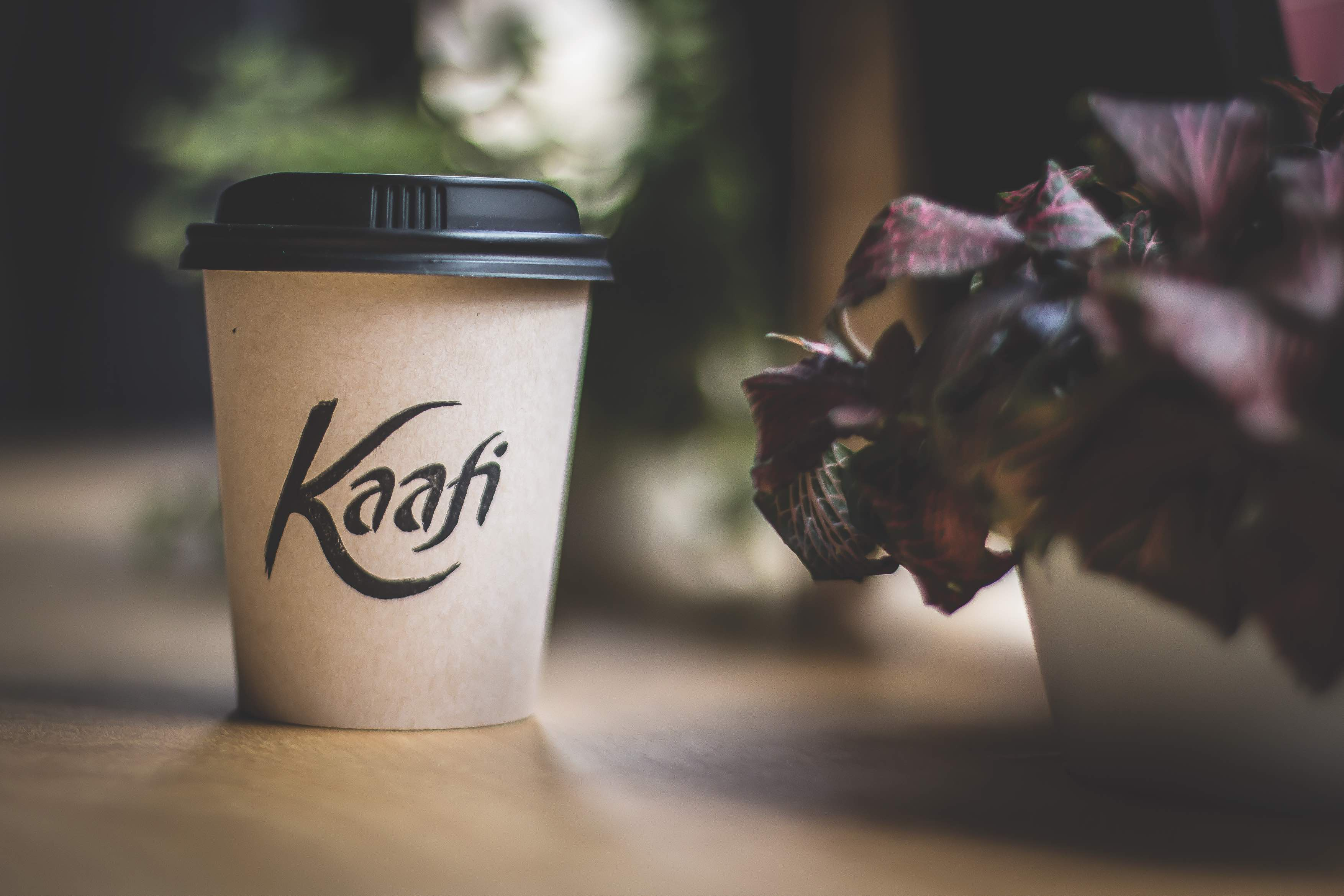 A takeout coffee from Kaafi