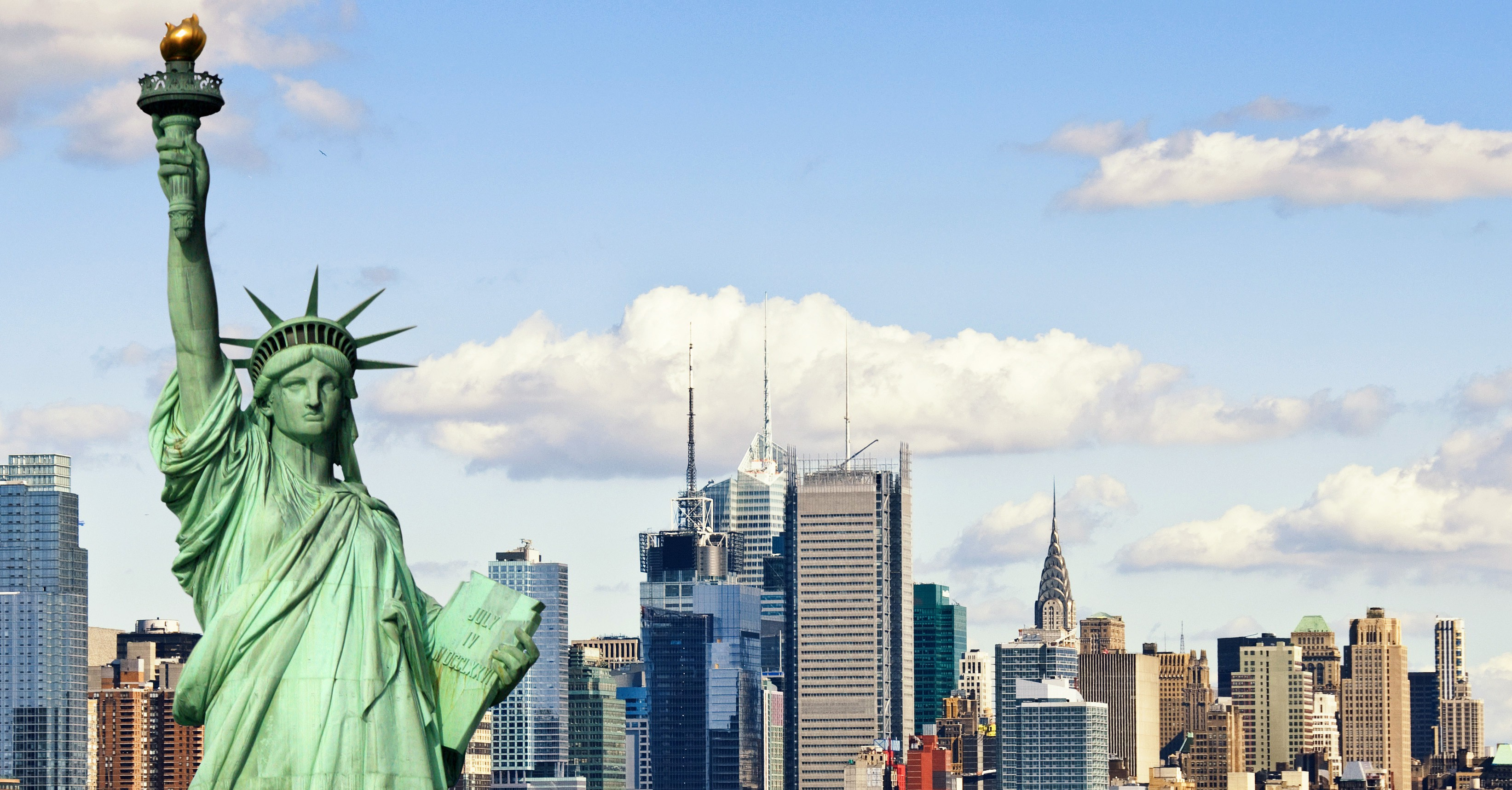 Statue of Liberty as seen against the New York City skyline.