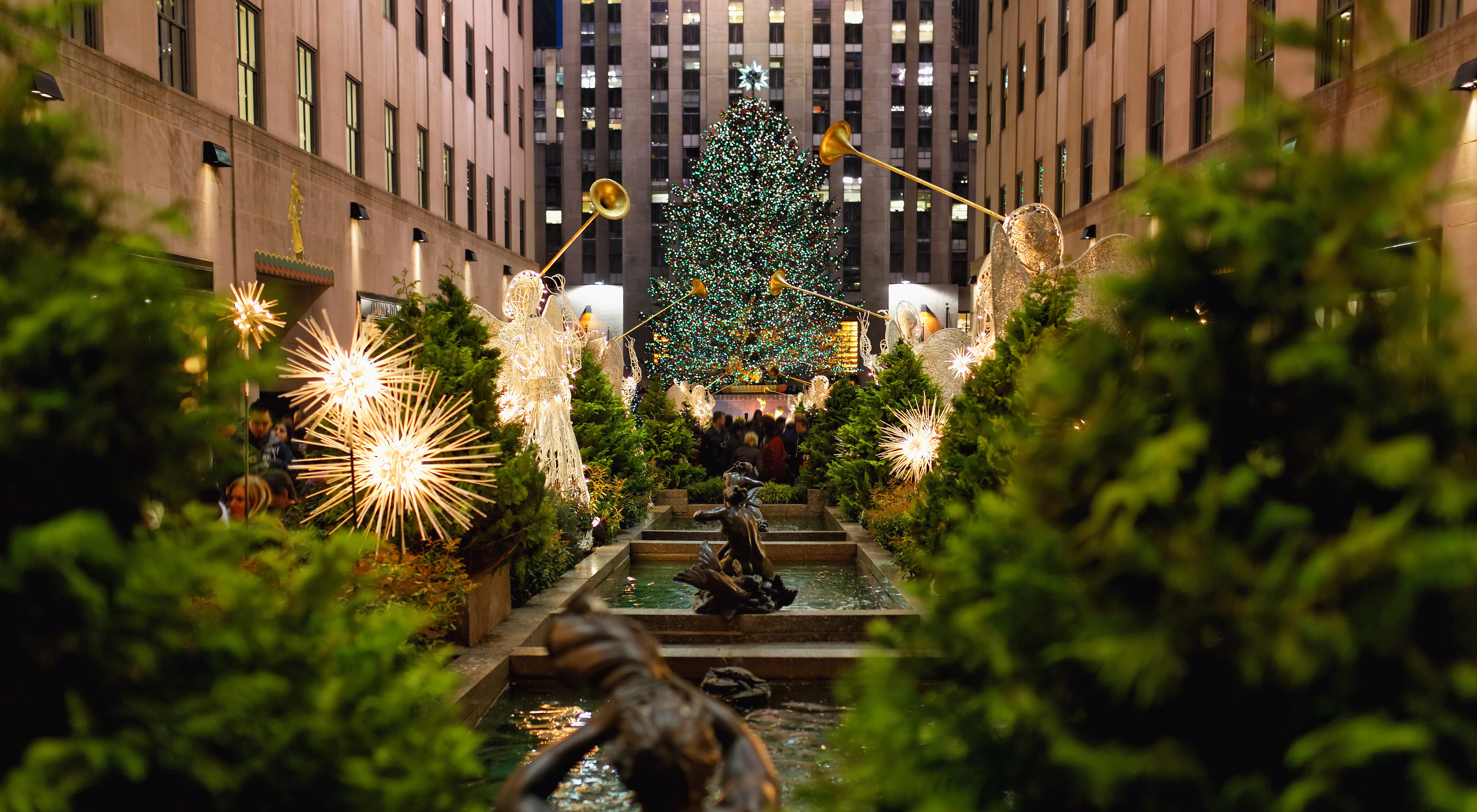 Rockefeller Center Christmas Tree at Night, New York City.