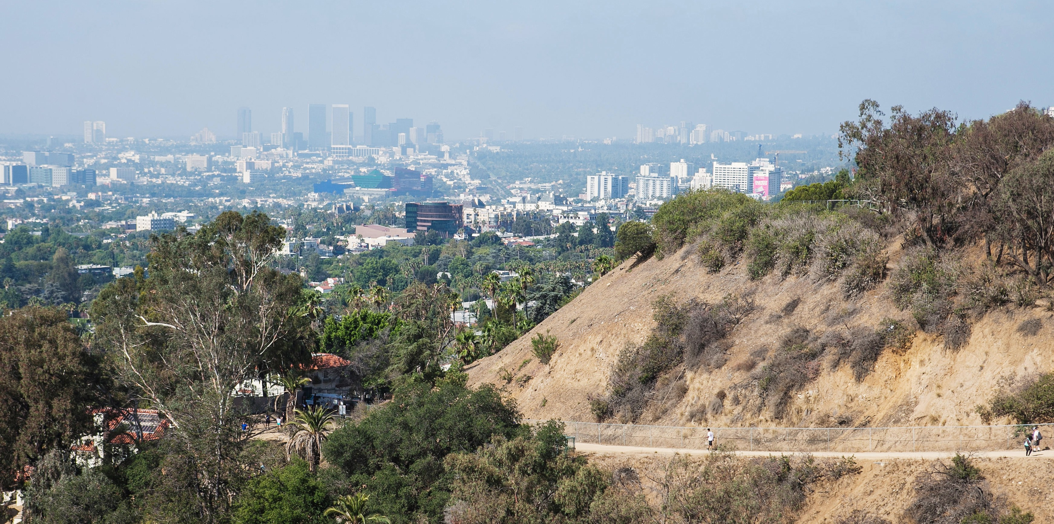 Runyon Canyon Park with view over Los Angeles, California