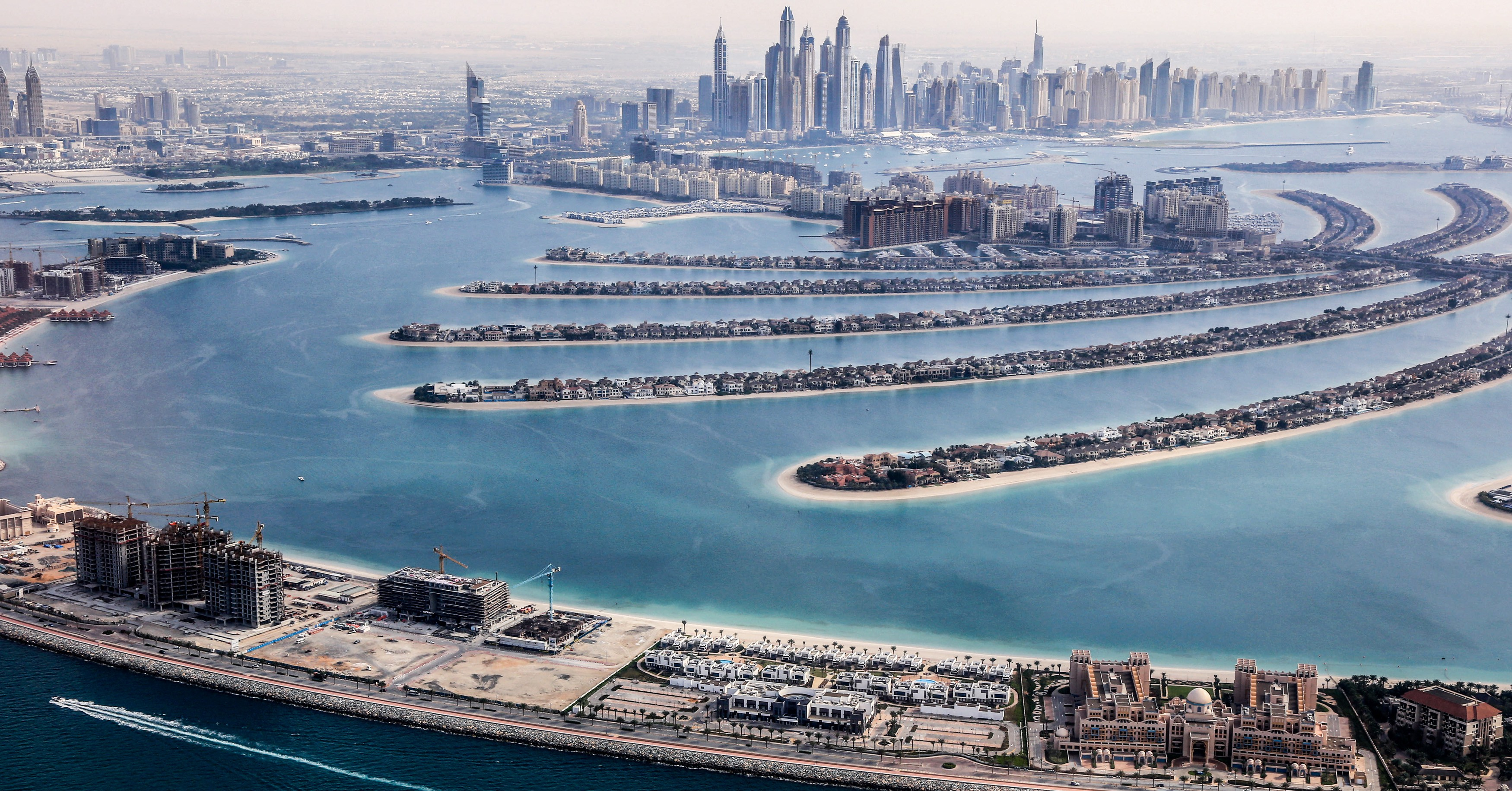 Aerial view of the Palm Jumeirah Island, UAE