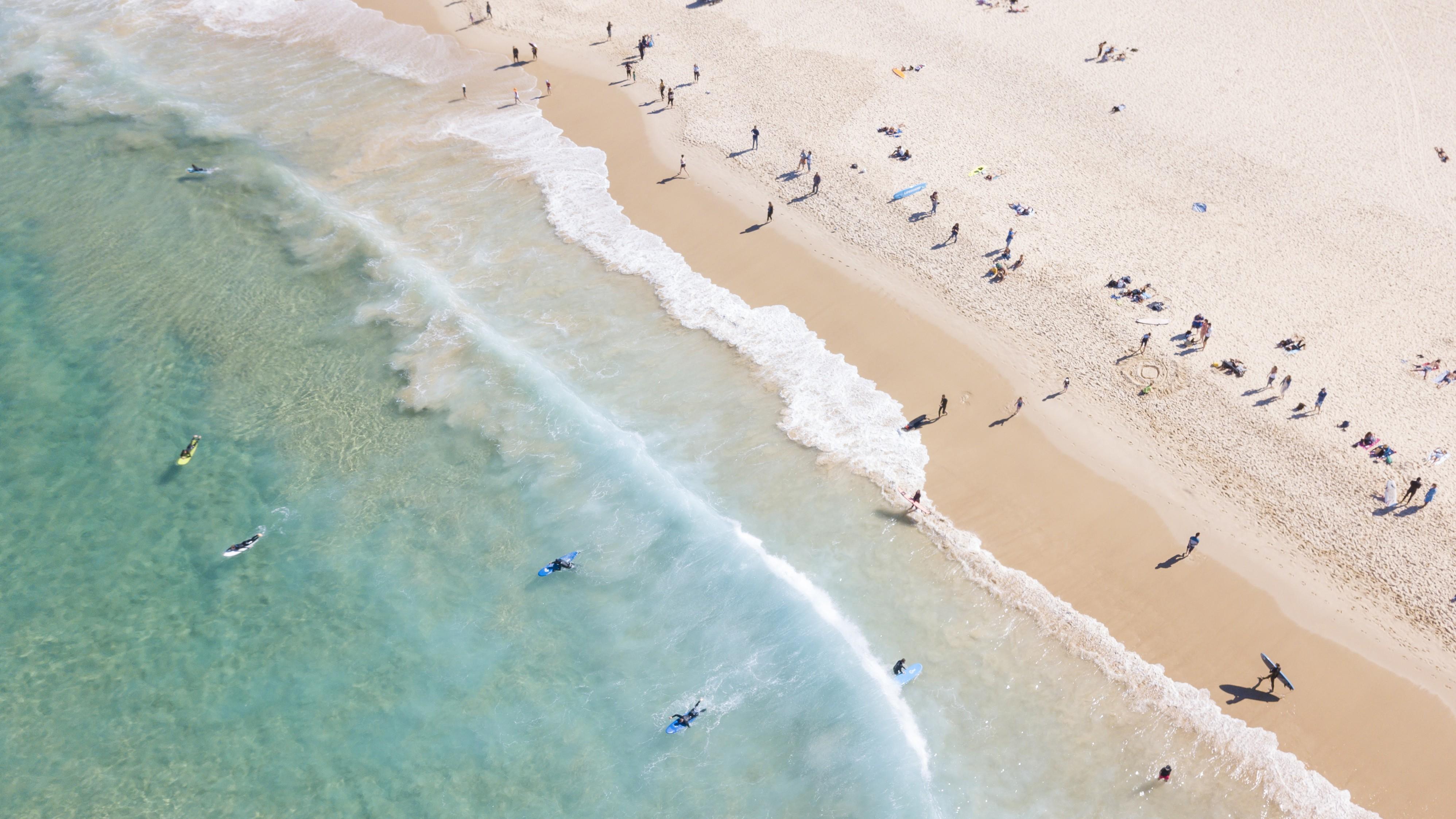 Surfing on Bondi Beach, Sydney